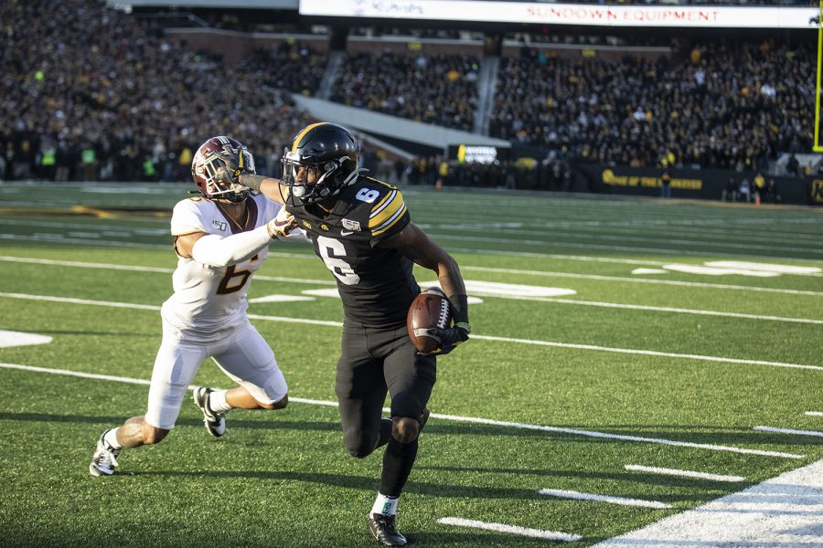 Iowa+wide+receiver+Ihmir+Smith-Marsette+stiff+arms+Minnesota+defensive+back+Chris+Williamson+during+a+football+game+between+Iowa+and+Minnesota+at+Kinnick+Stadium+on+Saturday%2C+November+16%2C+2019.+Smith-Marsette+had+4+catches+for+43+yards+in+the+game.