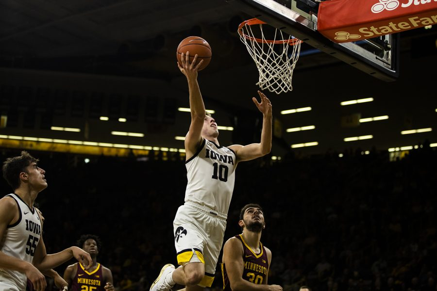 Iowa guard Joe Wieskamp shoots the ball during the mens basketball game against Minnesota at Carver-Hawkeye Arena on Monday, December 9, 2019.