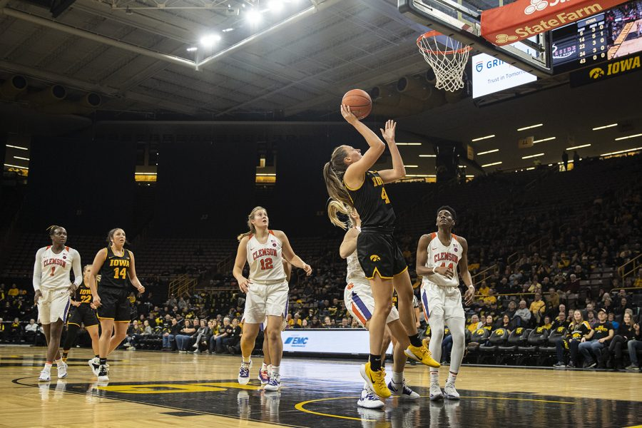 Iowa+forward+Amanda+Ollinger+goes+to+the+rim+during+a+women%C3%95s+basketball+match+between+Iowa+and+Clemson+at+Carver-Hawkeye+Arena+on+Wednesday%2C+Dec.+4%2C+2019.+The+Hawkeyes+defeated+the+Tigers%2C+74-60.+%28Shivansh+Ahuja%2FThe+Daily+Iowan%29