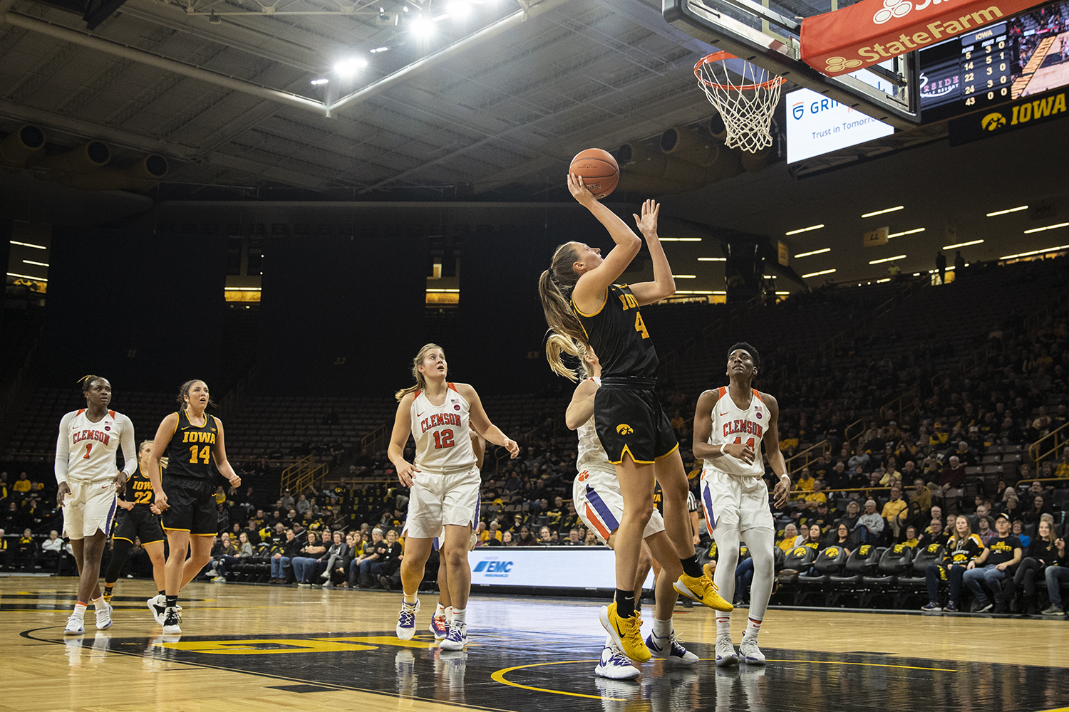 Iowa forward Amanda Ollinger goes to the rim during a womenÕs basketball match between Iowa and Clemson at Carver-Hawkeye Arena on Wednesday, Dec. 4, 2019. The Hawkeyes defeated the Tigers, 74-60. (Shivansh Ahuja/The Daily Iowan)