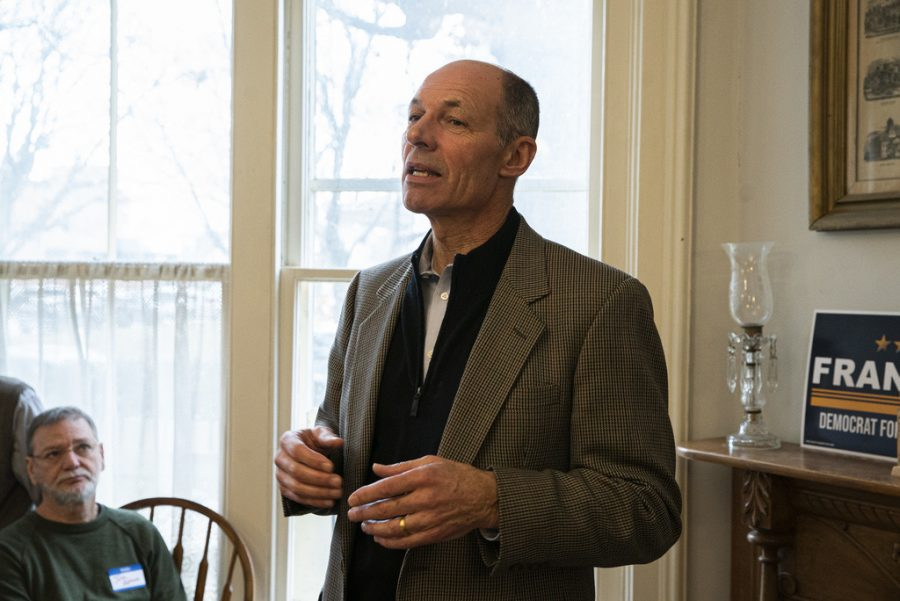 Retired Naval officer, Michael Franken speaks to supporters at the law office of Iowa City attorney Jim Larew on Saturday, Dec. 14, 2019. After forty years of service in the Navy, Franken is stepping down to pursue a campaign for senator.