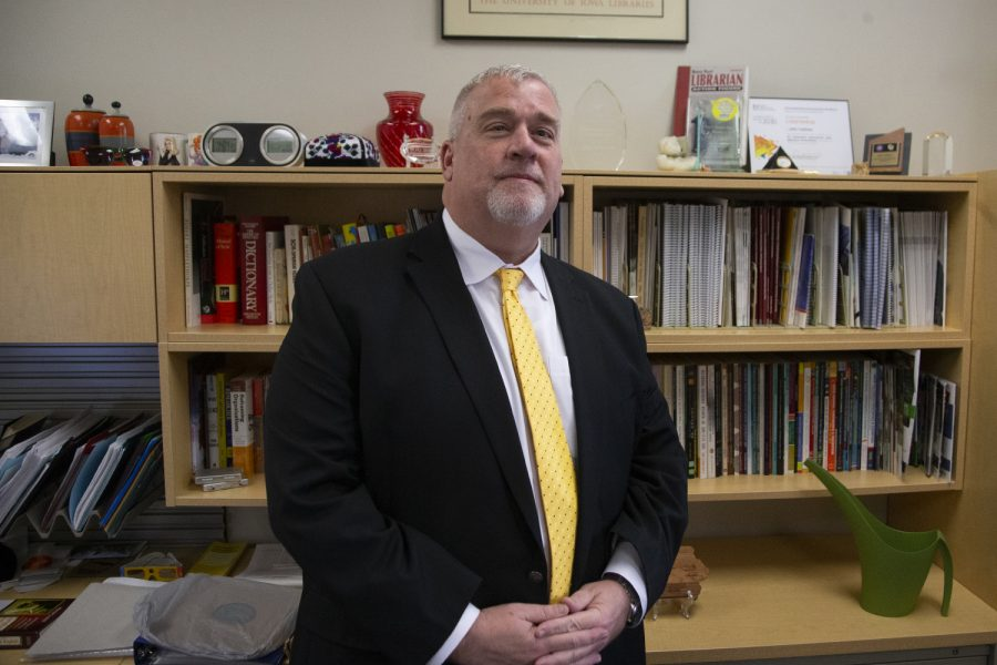 University Librarian John Culshaw poses for a photo in his office in the Main Library on Tuesday, November 12, 2019. After working as the University Librarian for seven years, Culshaw was elected the Vice President of the Association of Research Libraries. The association consists of 124 libraries in the US and Canada and focuses on collaboration with research, outreach and equity.