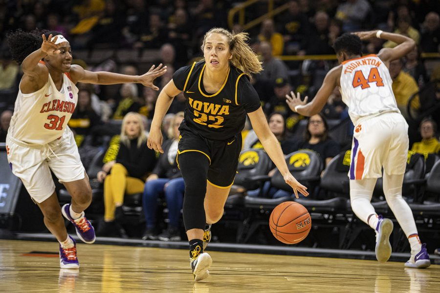 Iowa+guard+Kathleen+Doyle+drives+to+the+net+during+a+women%27s+basketball+match+between+Iowa+and+Clemson+at+Carver-Hawkeye+Arena+on+Wednesday%2C+Dec.+4%2C+2019.
