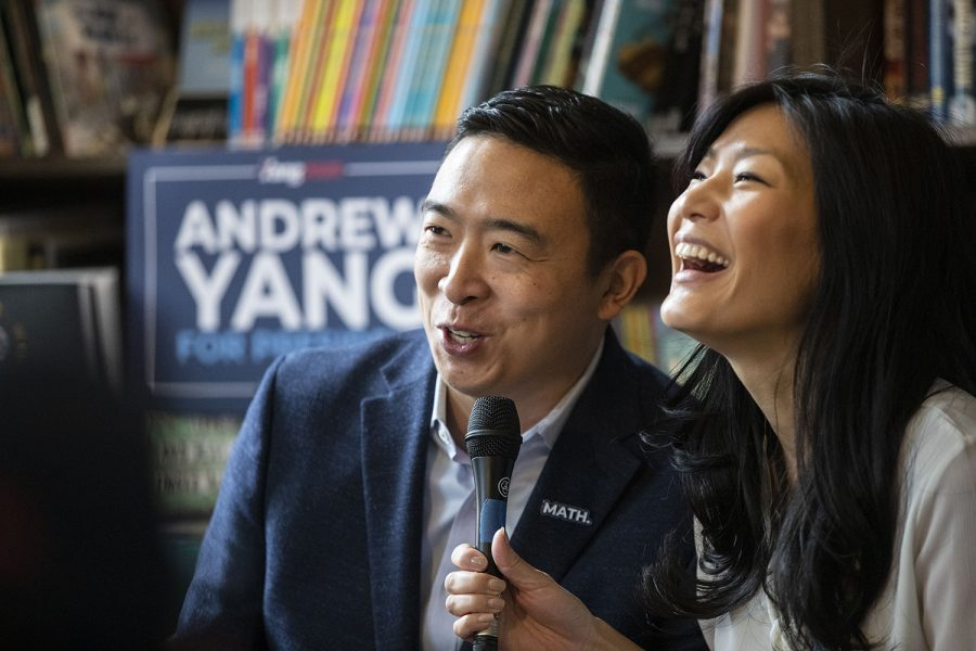Democratic candidate Andrew Yang and his wife Evelyn Yang share a laugh during a roundtable on the topic of family and autism at Sidekick cafe in University Heights on Saturday, Dec. 14, 2019. The Yang's shared their experience with their son Christopher, who is on the autism spectrum.