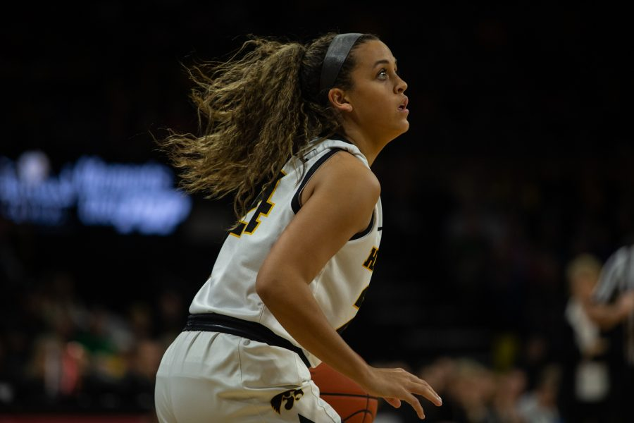 Iowa's Gabbie Marshall prepares to shoot the ball during a game against Drake University on Saturday, Dec. 21, 2019. The Hawkeyes defeated the Bulldogs, 79-67.