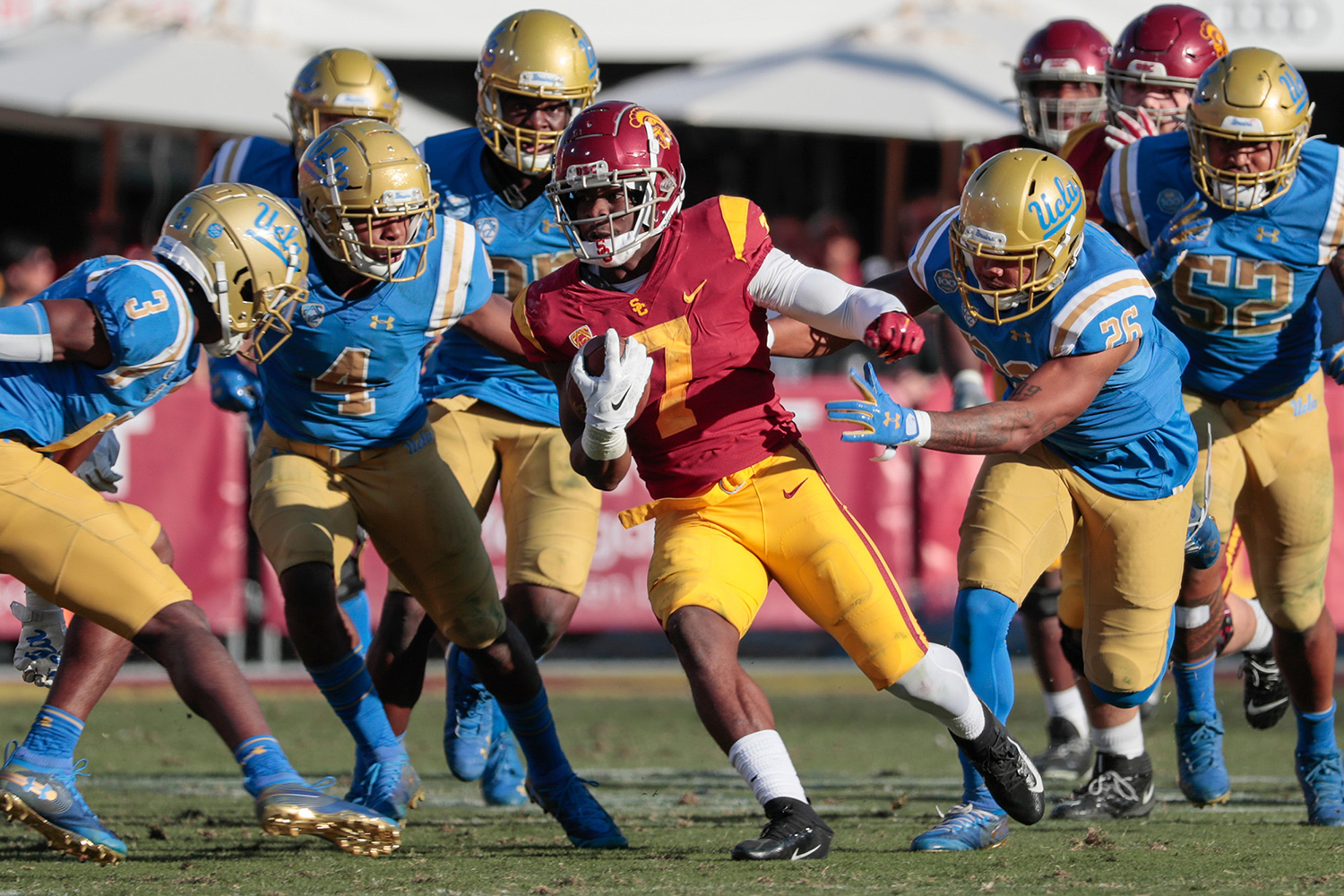 USC running back Stephen Carr (7) picks up second-half yardage against UCLA at the Los Angeles Memorial Coliseum on Saturday, Nov. 23, 2019, in Los Angeles. USC won, 52-35. (Robert Gauthier/Los Angeles Times/TNS)