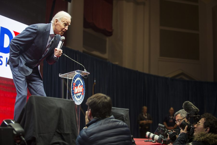 Former Vice President Joe Biden looks at members of the audience during the Teamsters Presidential Candidate Forum in the Veterans Memorial Coliseum in Cedar Rapids on Saturday, Dec. 7, 2019.
