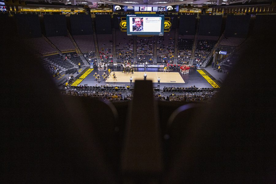 A+view+from+empty+arena+seats+shows+the+court+during+a+volleyball+match+between+the+University+of+Iowa+and+University+of+Maryland+at+Carver+Hawkeye+Arena+on+Saturday%2C+November+30%2C+2019.++The+Hawkeyes+defeated+the+Terrapins+3-1.+Saturday+was+the+final+match+that+Iowa+volleyball+will+play+in+Carver%2C+as+it+moves+to+the+Xtream+Arena+next+fall.