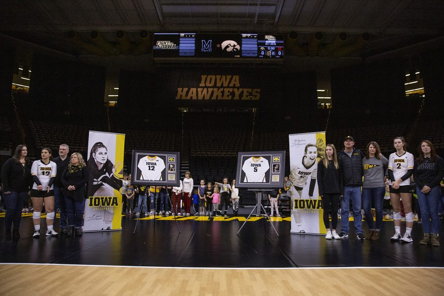 Iowa+seniors+Emily+Bushman+and+Meghan+Buzzerio+are+recognized+before+a+volleyball+match+between+the+University+of+Iowa+and+University+of+Maryland+at+Carver+Hawkeye+Arena+on+Saturday%2C+November+30%2C+2019.++The+Hawkeyes+defeated+the+Terrapins+3-1.