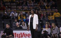 Iowa head coach Vicki Brown watches a play during a match between the University of Iowa and University of Maryland at Carver Hawkeye Arena on Saturday, November 30, 2019.  The Hawkeyes defeated the Terrapins 3-1. Saturday was the final match that Iowa volleyball will play in Carver, as it moves to the Xtream Arena next fall.