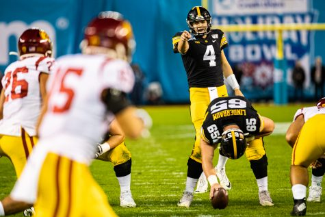 Iowa quarterback Nate Stanley calls out assignments during the 2019 SDCCU Holiday Bowl between Iowa and USC in San Diego on Friday, Dec. 27, 2019. This was Stanley