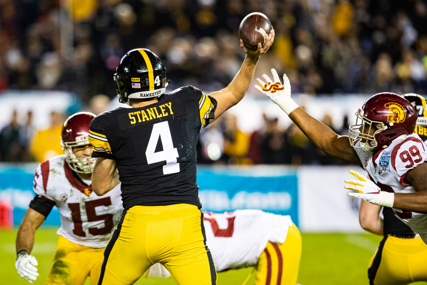 Iowa quarterback Nate Stanley attempts a pass during the 2019 SDCCU Holiday Bowl between Iowa and USC in San Diego on Friday, Dec. 27, 2019. Stanley finished with a 67% completion rate for 213 yards.