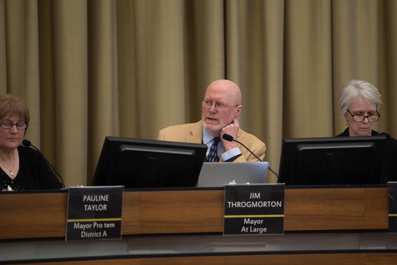 Iowa City Mayor Jim Throgmorton speaks during a City Council meeting on Tuesday, Dec. 3, 2019 at City Hall.