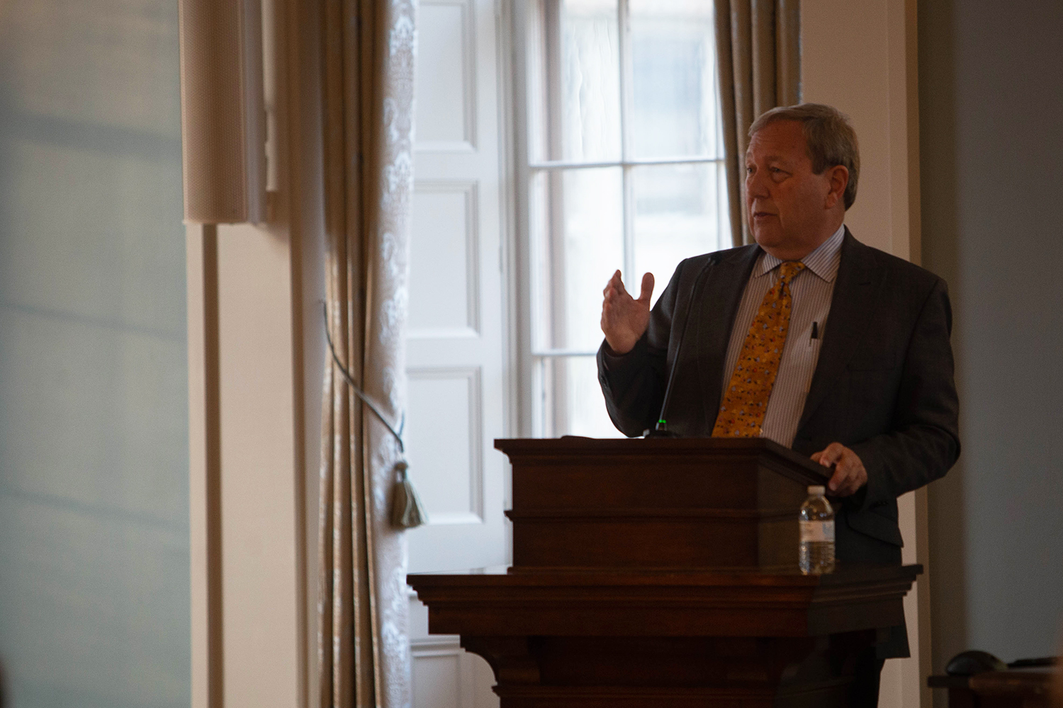 University of Iowa President Bruce Harreld addresses the Faculty Senate during a meeting in the Old Capitol Senate Chambers on Tuesday, Dec. 10, 2019. Harreld talked about the approval of the public/private partnership.