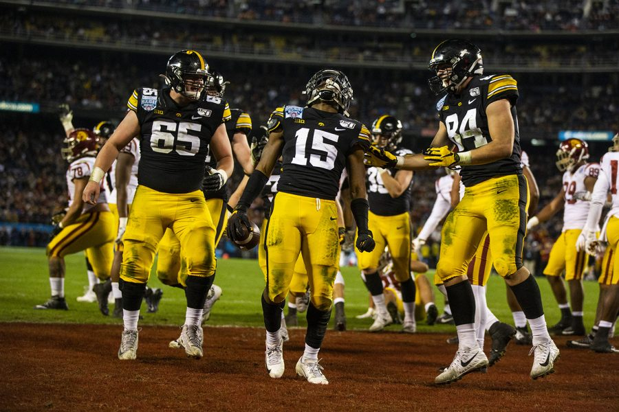 Iowa+players+celebrate+a+touchdown+during+the+Holiday+Bowl+game+between+Iowa+and+USC+at+SDCCU+Stadium+on+Friday%2C+December+27%2C+2019.+The+Hawkeyes+defeated+the+Trojans+49-24.