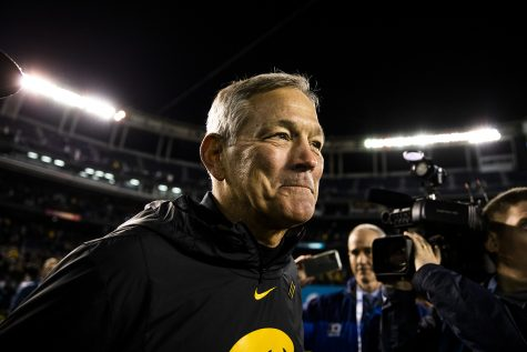 Iowa head coach Kirk Ferentz smiles after the win during the Holiday Bowl game between Iowa and USC at SDCCU Stadium on Friday, Dec. 27, 2019. The Hawkeyes defeated the Trojans, 49-24.