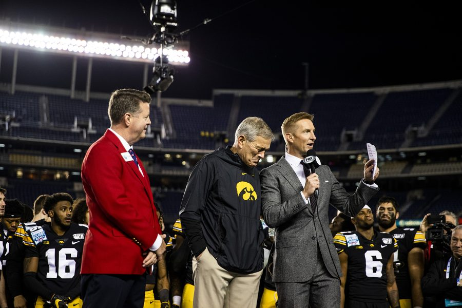 Iowa+head+coach+Kirk+Ferentz+gets+emotional+as+the+announcer+mentioned+Hayden+Fry+during+the+Holiday+Bowl+game+between+Iowa+and+USC+at+SDCCU+Stadium+on+Friday%2C+Dec.+27%2C+2019.+The+Hawkeyes+defeated+the+Trojans%2C+49-24.