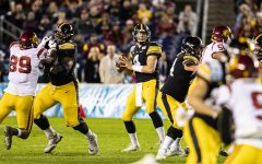 Iowa quarterback Nate Stanley drops back to pass during the 2019 SDCCU Holiday Bowl between Iowa and USC in San Diego on Friday, Dec. 27, 2019.