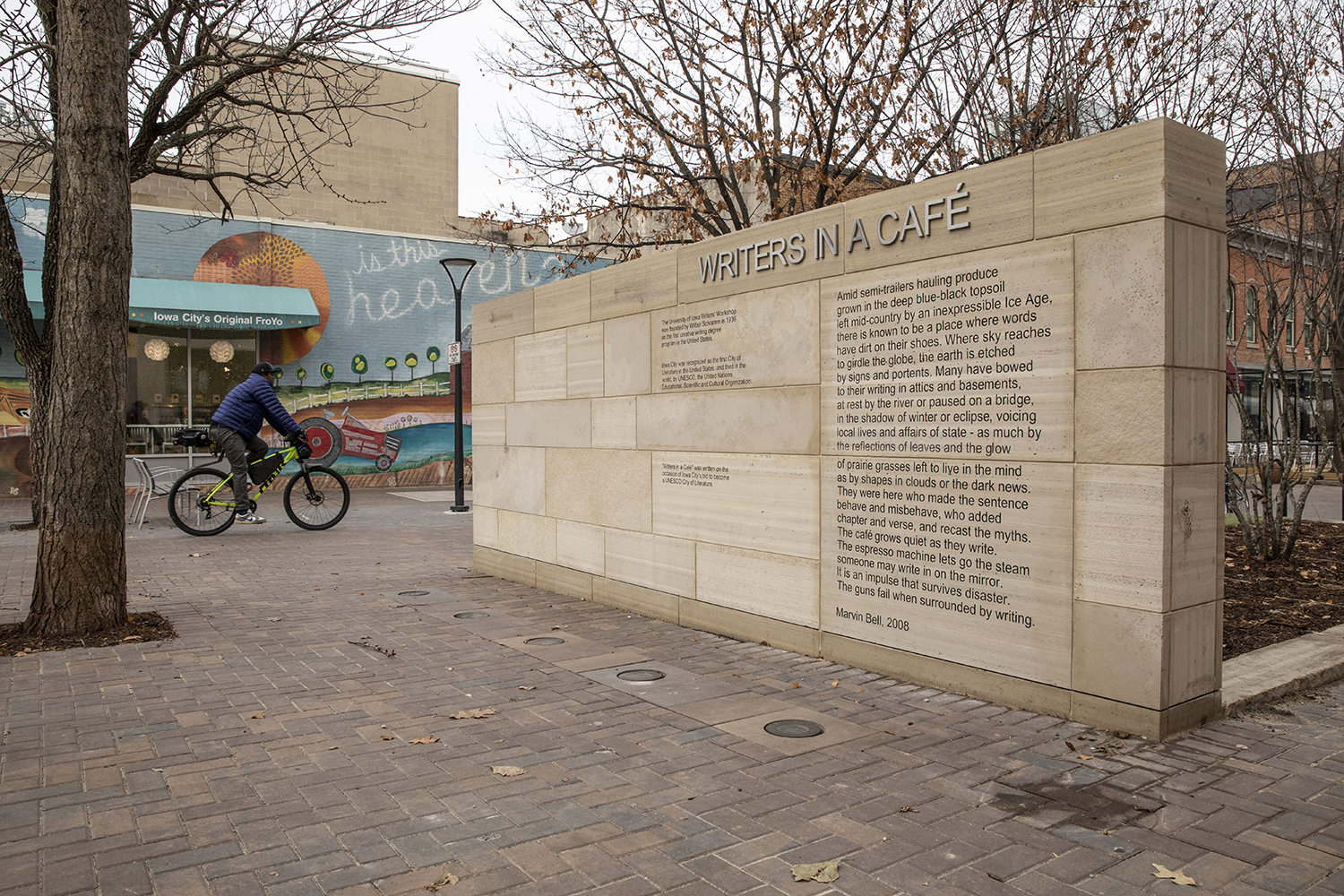 An installed art piece displays a poem by artist Marvin Bell on December 8, 2019 in the Iowa City Pedestrian Mall. Iowa City was the first in the United States to be recognized as a