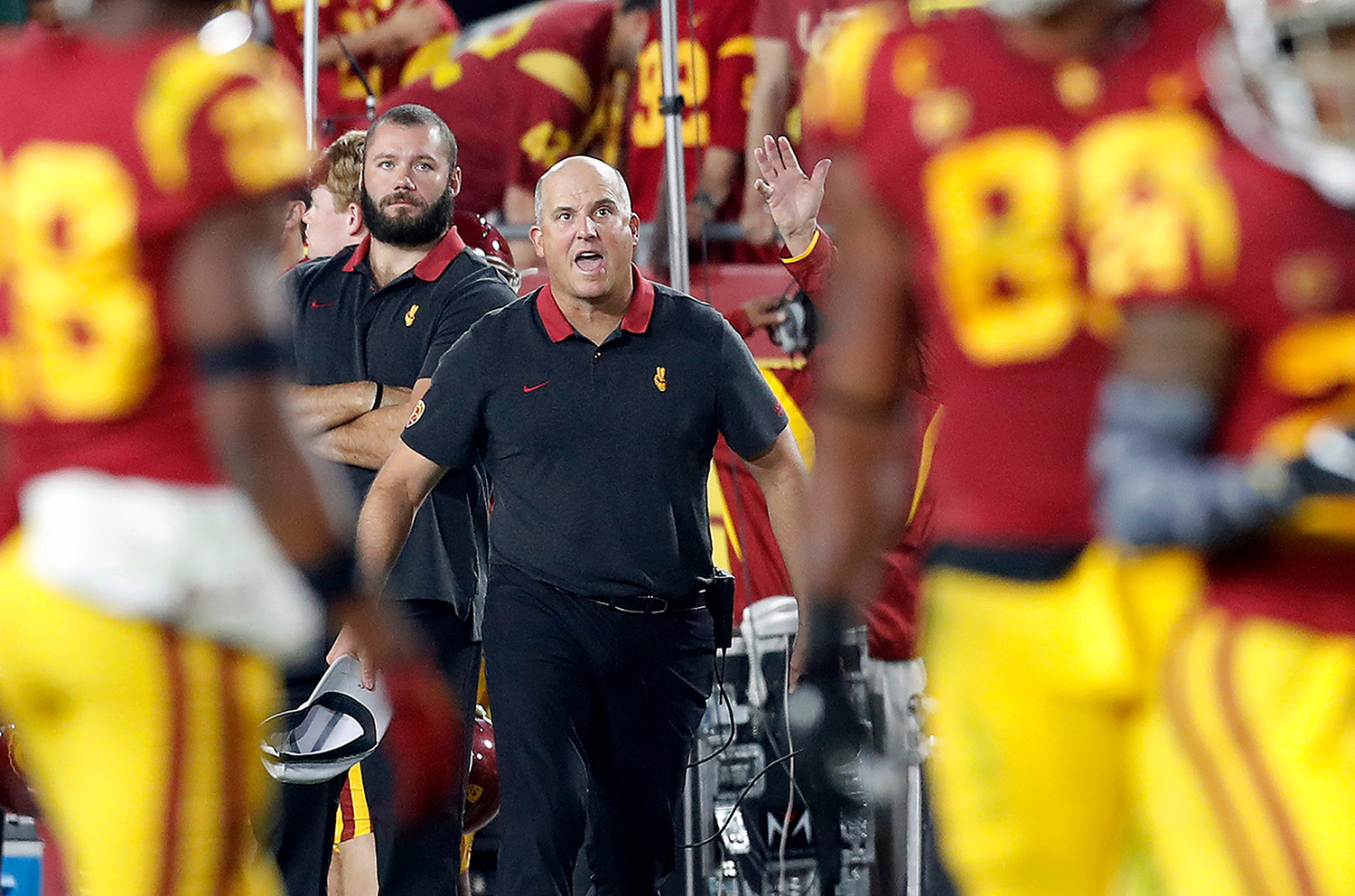USC head coach Clay Helton reacts after yet another personal fopul call against the Trojans in the second quarter at the Coliseum on Saturday night, Nov,. 2, 2019. USC will face Iowa in the Holiday Bowl. (Luis Sinco/Los Angeles Times/TNS)