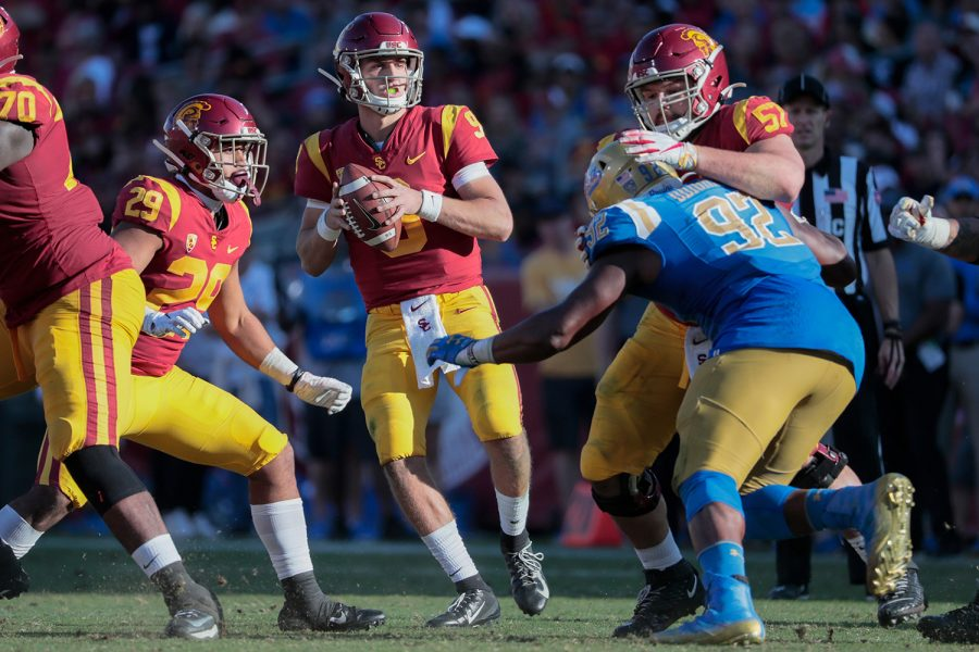 USC+quarterback+Kedon+Slovis+%289%29+drops+back+to+pass+against+UCLA+during+the+third+quarter+at+the+Los+Angeles+Memorial+Coliseum+on+Saturday%2C+Nov.+23%2C+2019%2C+in+Los+Angeles.+USC+won%2C+52-35.+%28Robert+Gauthier%2FLos+Angeles+Times%2FTNS%29