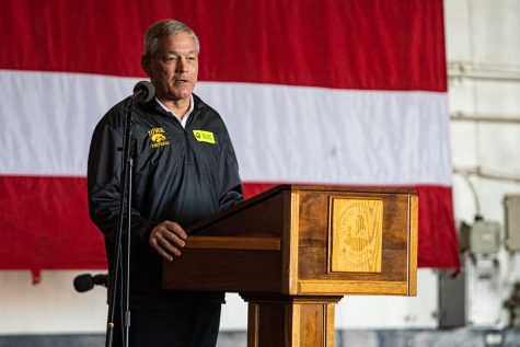 Iowa head coach Kirk Ferentz speaks on the U.S.S. Theodore Roosevelt in San Diego on Tuesday, Dec. 24, 2019.