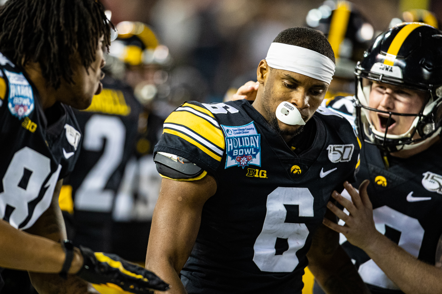 Iowa wideout Ihmir Smith-Marsette celebrates a kick-return touchdown during the 2019 SDCCU Holiday Bowl between Iowa and USC in San Diego on Friday, Dec. 27, 2019. The Hawkeyes defeated the Trojans, 49-24.