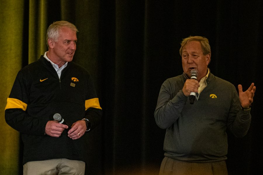 Iowa Athletic Director Gary Barta (left) and UI President Bruce Harreld (right) speak during the Hawkeye Huddle at the Hilton San Diego Bay Front on Thursday, Dec. 26, 2019.