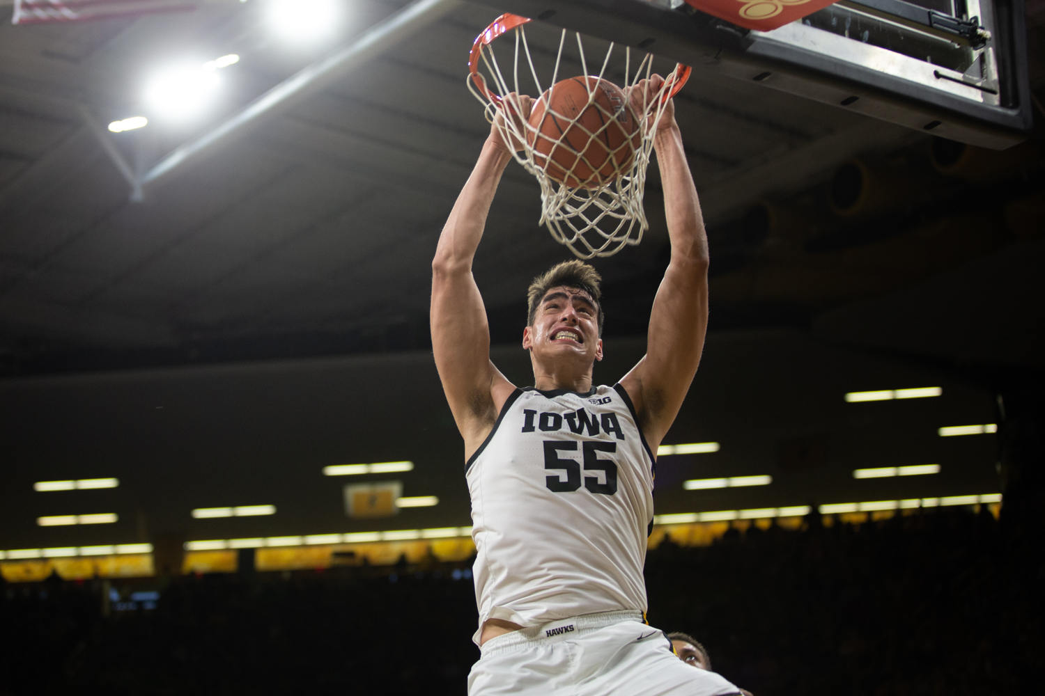 Iowa's Luka Garza dunks the ball during a game against Kennesaw State University at Carver Hawkeye Arena on Sunday, Dec. 29, 2019. The Hawkeyes defeated the Owls, 93-51. (Emily Wangen/The Daily Iowan)