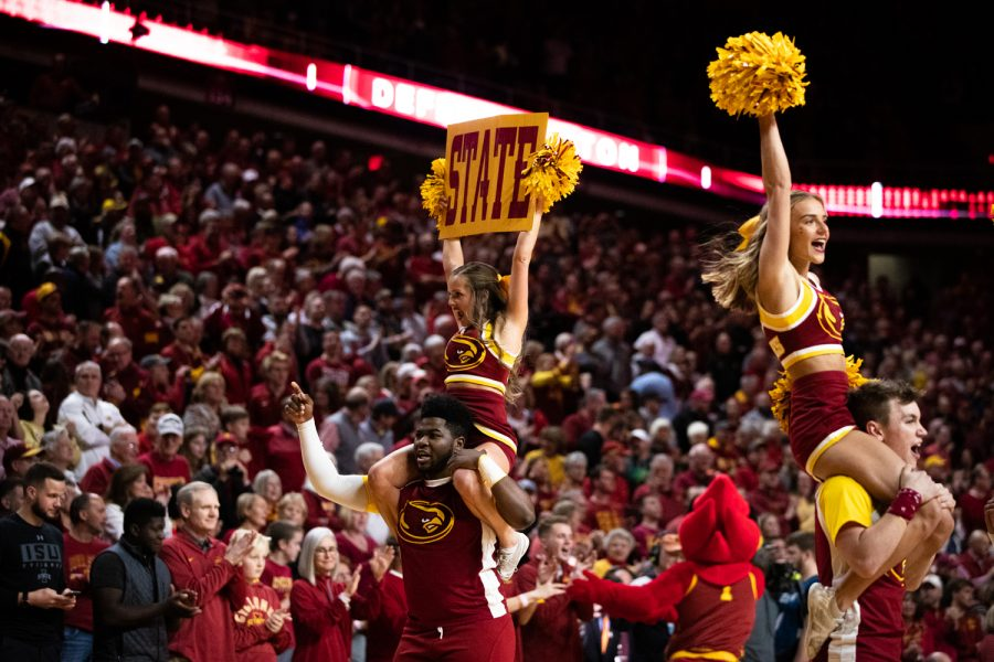 Iowa+State+cheerleaders+hype+the+crowd+during+a+men%E2%80%99s+basketball+match+between+Iowa+and+Iowa+State+at+Hilton+Coliseum+on+Thursday%2C+Dec.+12%2C+2019.+The+Hawkeyes+defeated+the+Cyclones%2C+84-68.