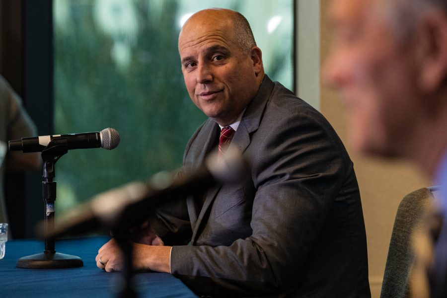 USC head coach Clay Helton speaks during the 2019 SDCCU Holiday Bowl Coaches Press Conference in the Grand Hyatt Hotel in San Diego on Thursday, Dec. 26, 2019.