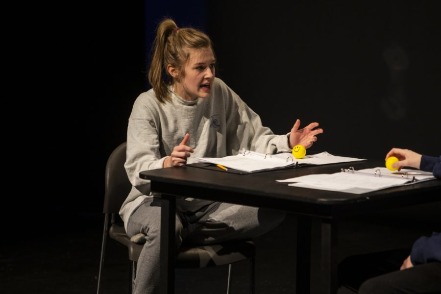 Kaya Schafer performs as Charlie during a dress rehearsal for You Are Not Alone In The Void on Dec. 11. You Are Not Alone In The Void, written and directed by Emmy Lane Palmersheim, opens in the Alan MacVey Theatre on December 13.