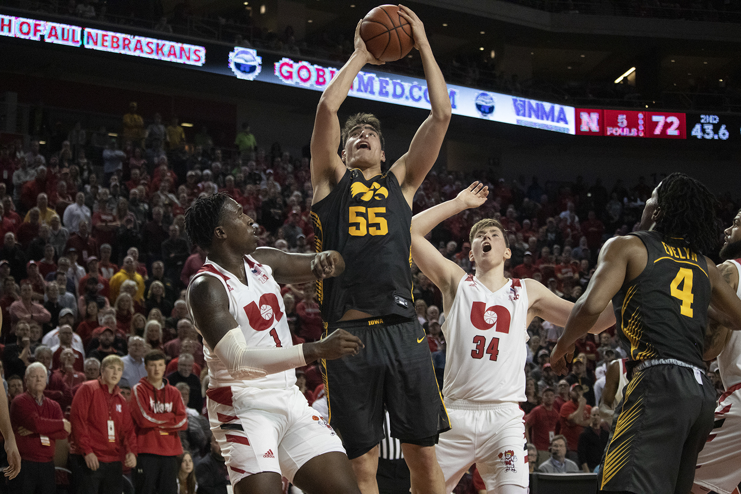 Iowa center Luke Garza rebounds a ball during a men's basketball game between Iowa and Nebraska at Pinnacle Bank Arena in Lincoln on Tuesday, January 7th. The Hawkeyes fell to the Huskers 76-70.
