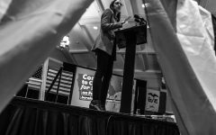 Late Friday night, Alexandria Ocasio-Cortez rallies several hundred people for Bernie Sanders in Iowa City
