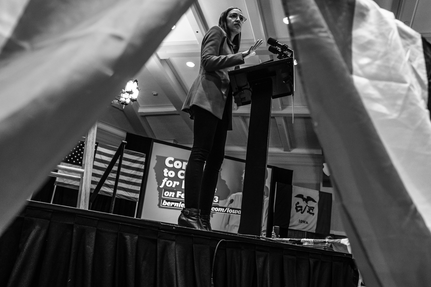 Representative Alexandria Ocasio-Cortez, D-N.Y. speaks to the audience during a campaign event for Senator Bernie Sanders, I-Vt. on Friday, January 24, 2020. Although Sanders could not attend the event, Ocasio-Cortez spoke in his place. The Iowa caucuses, just under two weeks away, will take place on February 3.