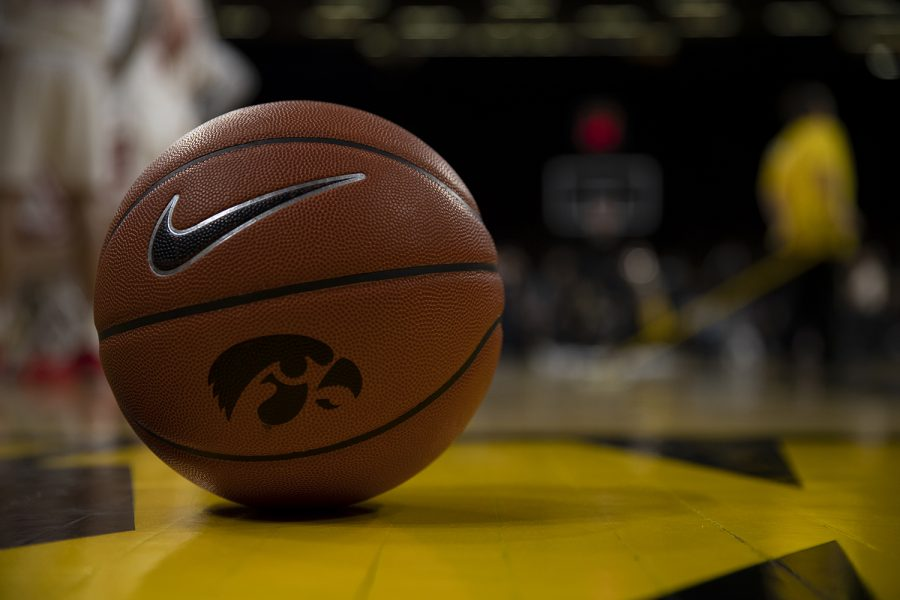 A basketball is seen on the court during a game between Iowa and Wisconsin on Jan. 27 at Carver Hawkeye Arena.