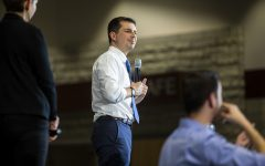 Former South Bend, Indiana mayor and Democratic presidential-nomination hopeful Pete Buttigieg speaks at his rally at North Liberty High School in North Liberty, Iowa on Monday, January 27, 2020.