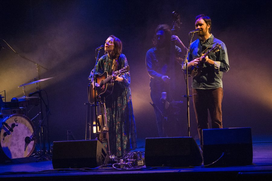 Emily Frantz and Andrew Marlin of Mandolin Orange perform at their concert at the Englert theatre on Tuesday, January 28, 2020.
