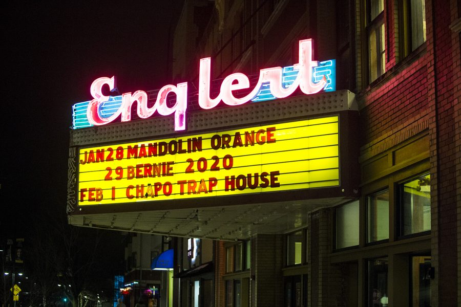 The marquee outside of the Englert theatre is shown with Mandolin Orange headlining on Tuesday, January 28, 2020.