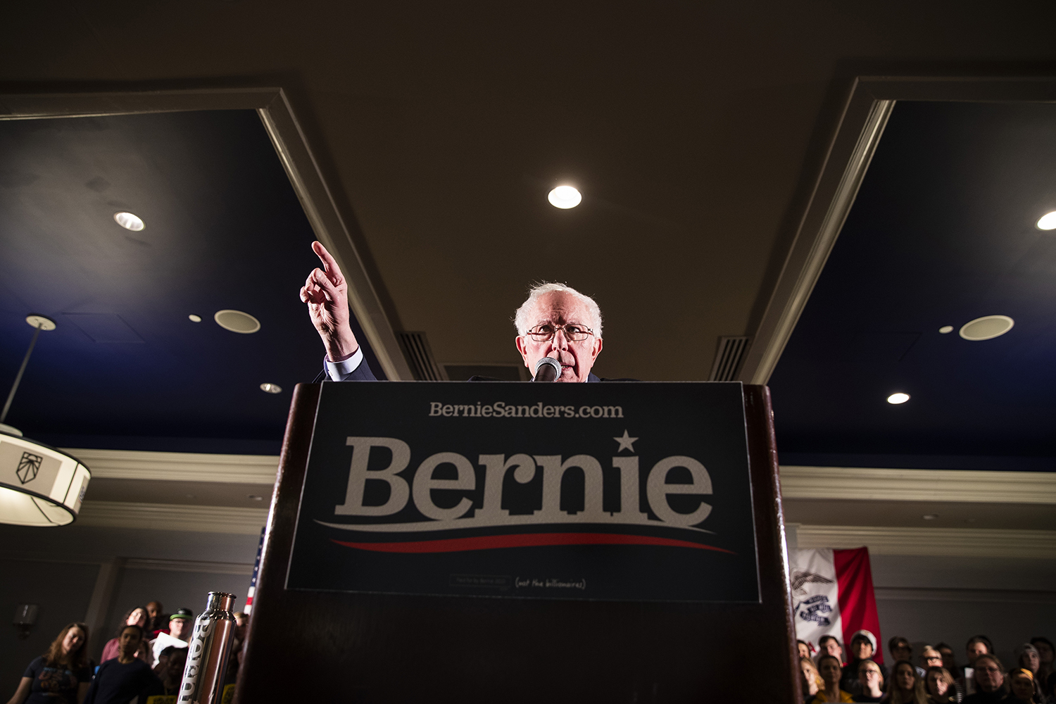Sen. Bernie Sanders, I-.Vt., speaks during the Iowa City Climate Rally at the Graduate hotel on Jan. 12. Sanders discussed his climate policies, the impact of climate change, the Green New Deal, and the dangers of climate inaction in the government.