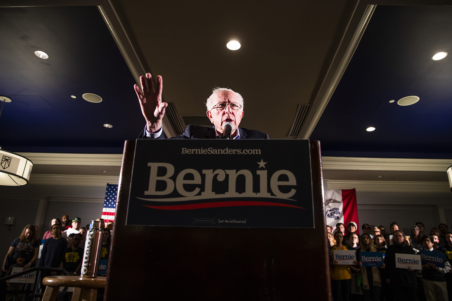 Sen. Bernie Sanders, I-Vt., speaks during the Iowa City Climate Rally at The Graduate hotel on Sunday, January 12, 2020.