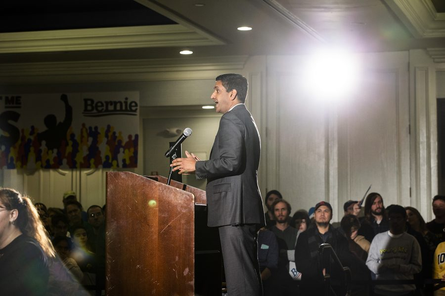 Rep. Ro Khanna speaks during the Iowa City Climate Rally at The Graduate hotel on Sunday, January 12, 2020.
