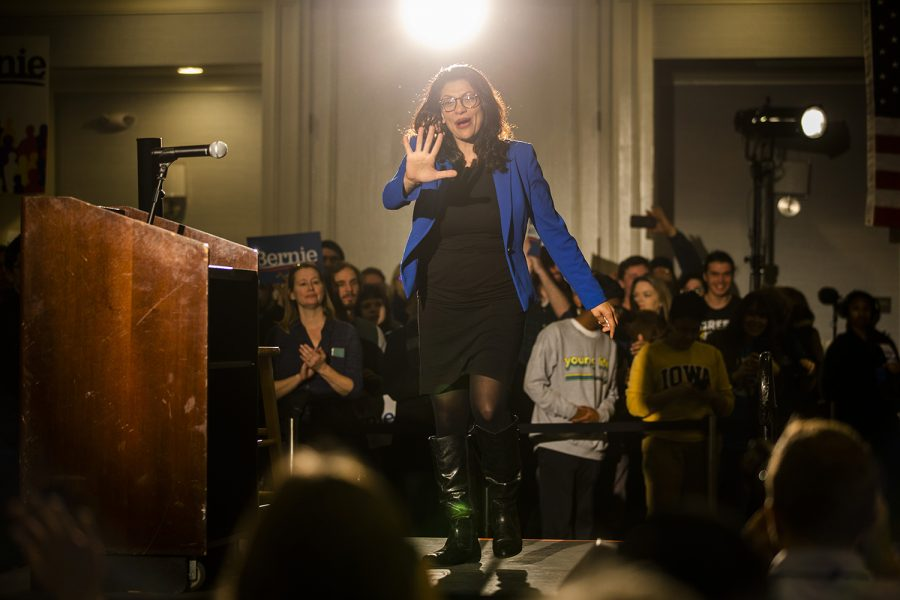 Rep. Rashida Tlaib walks on the stage during the Iowa City Climate Rally at The Graduate hotel on Sunday, January 12, 2020.