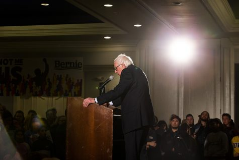 during the Iowa City Climate Rally at the Graduate hotel on Sunday, January 12, 2020. Sanders discussed his climate policies, the impact of climate change, the Green New Deal, and the dangers of climate inaction in the government.