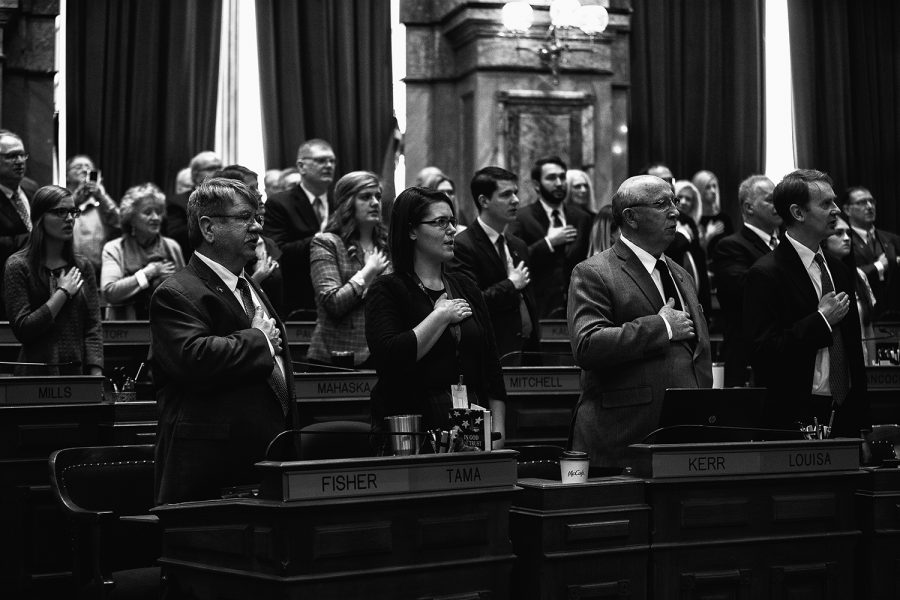 Iowa+House+members+recite+the+Pledge+of+Allegiance+at+the+Iowa+State+Capitol+on+Monday%2C+January+13%2C+2020.+The+House+convened+and+leaders+in+the+Iowa+House+of+Representatives+gave+opening+remarks+to+preview+their+priorities+for+the+2020+session.+