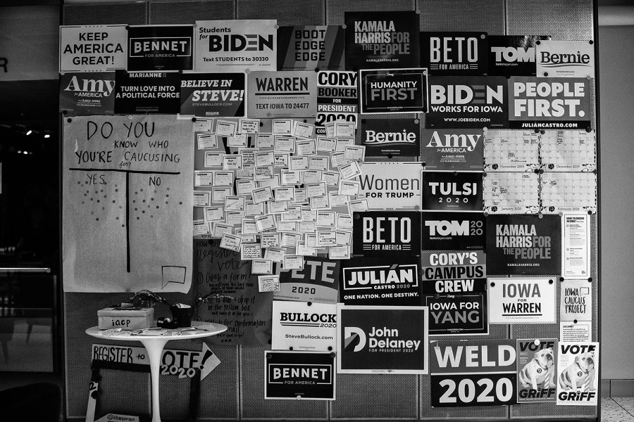Signs for the past and presents presidential candidates are seen during the January Democratic Presidential Primary Debate watch party at Drake University in Des Moines, Iowa on Tuesday, January 14, 2020. The candidates discussed matters such as war, a womans position in the office, trade, and policy.