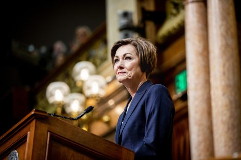 Gov. Kim Reynolds gives the Condition of the State address at the Iowa State Capitol on Tuesday, January 14, 2020.