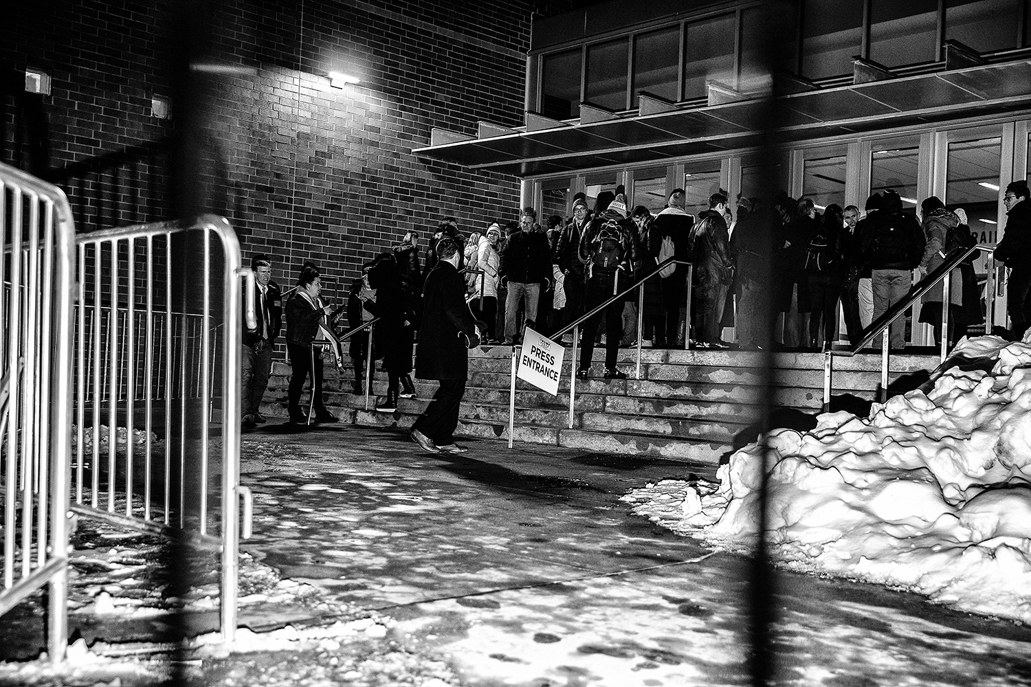 Media members stand outside the press entrance for a rally for President Donald Trump at the Knapp Center on Thursday, January 30, 2020. Hundreds of individuals including supporters, protestors, and members of the press were left outside after the event reached maximum capacity.