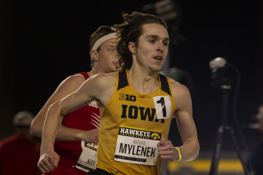 Iowa distance runner Nathan Mylenek rounds a corner during the 800m run during the Hawkeye Invite at the University of Iowa Recreation Building on Saturday, Jan. 11, 2020. Mylenek won the race with a 1:55.04.