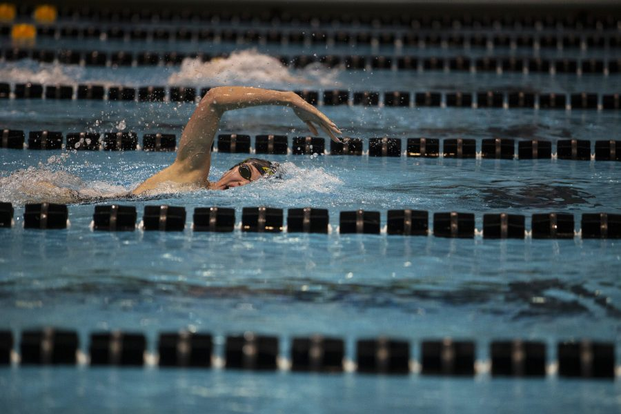 Allyssa+Fluit+participates+in+the+Women%E2%80%99s+200+freestyle+during+an+intrasquad+meet+at+the+Campus+Recreation+and+Wellness+Center+on+Saturday+Sept.+28%2C+2019.+The+Gold+team+defeated+the+Black+team+109.0-83.0.+Fluit+came+in+second+with+a+time+of+1%3A53.01.